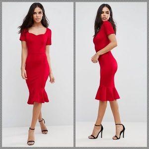 NWT ASOS red midi dress floral fuschia